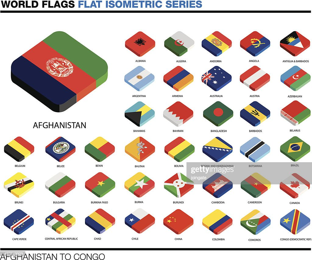flags of the world, a-c,  3d isometric flat icon design