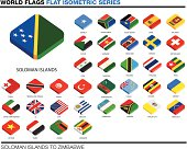 flags of the world, s-z,  3d isometric flat icon design