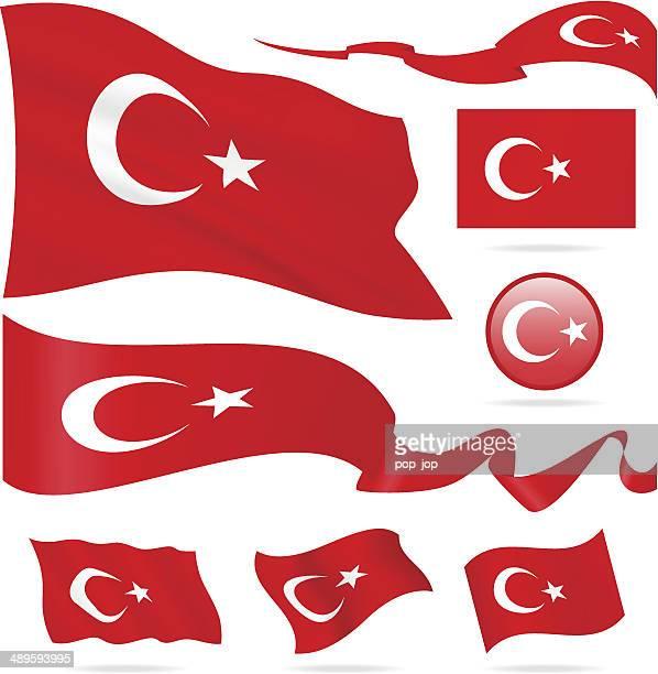 flaggen der türkei-icon-set-illustration - türkei stock-grafiken, -clipart, -cartoons und -symbole