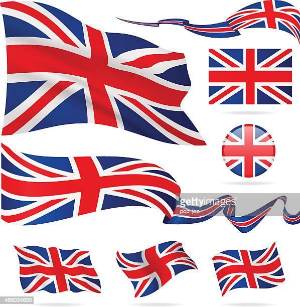 flags of united kingdom - icon set - illustration - union jack stock illustrations