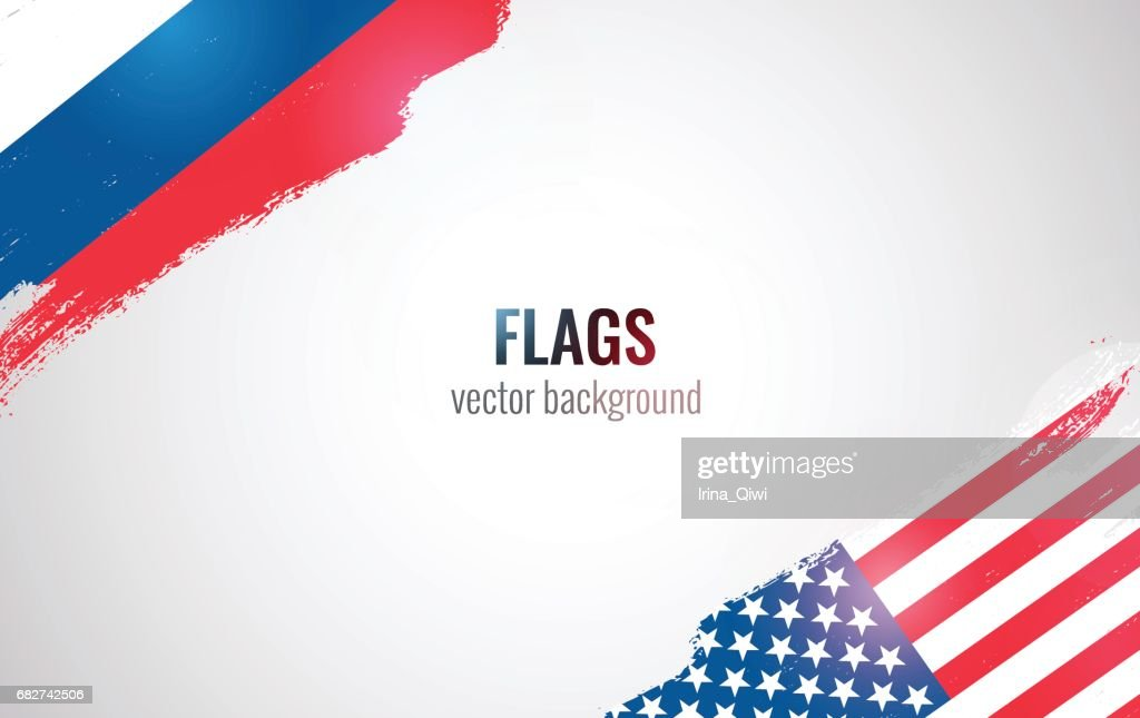 Flags of USA and Russian Federation isolated on white background.