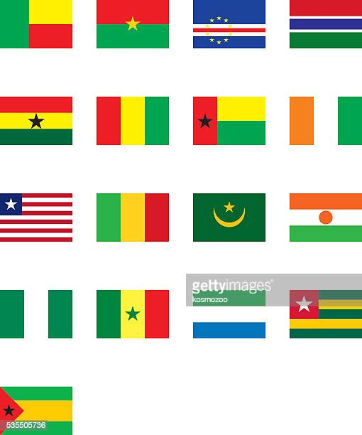 flags of west africa - ghana stock illustrations, clip art, cartoons, & icons