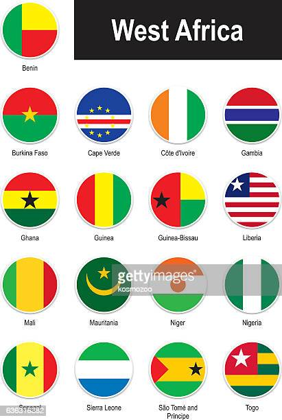 flags of west africa - west africa stock illustrations, clip art, cartoons, & icons