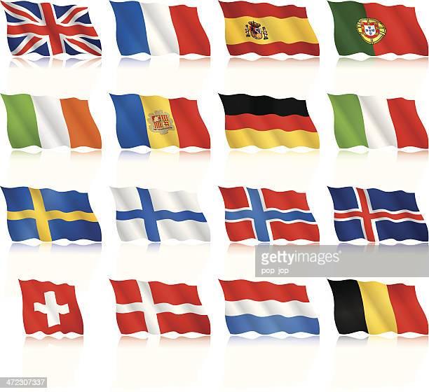 flaggen der westlichen und nordeuropa-routen-winkt formular - norwegische flagge stock-grafiken, -clipart, -cartoons und -symbole