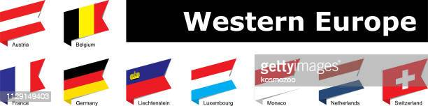 flags of western europe - principality of liechtenstein stock illustrations