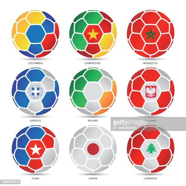 Flags of world on soccer balls