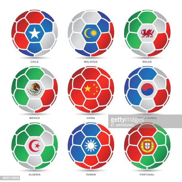 flags of world on soccer balls - south korea stock illustrations, clip art, cartoons, & icons