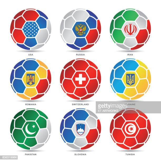 flags of world on soccer balls - sport set competition round stock illustrations