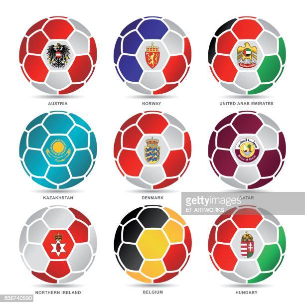 Flags of world on soccer balls