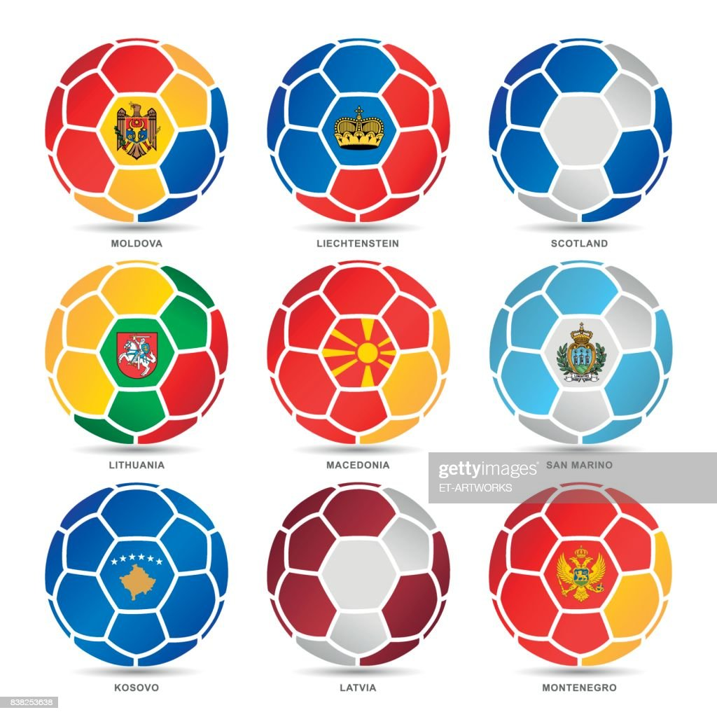 Flags of world on soccer balls : Stock Illustration