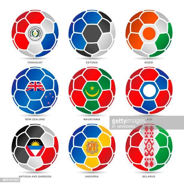 stockillustraties, clipart, cartoons en iconen met lijst van vlaggen van de wereld op voetballen - national team