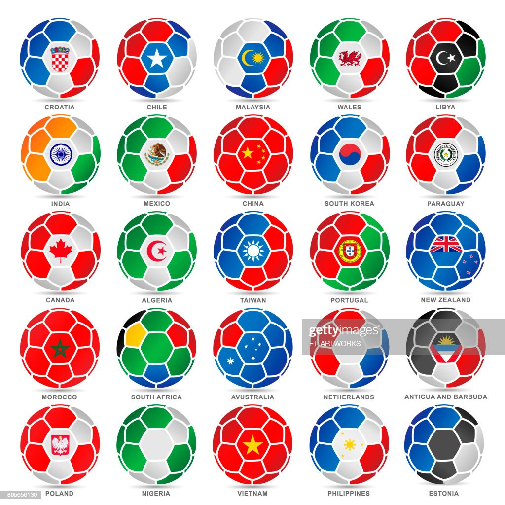25 Flags of world on soccer balls
