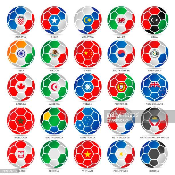 25 flags of world on soccer balls - sports team stock illustrations, clip art, cartoons, & icons