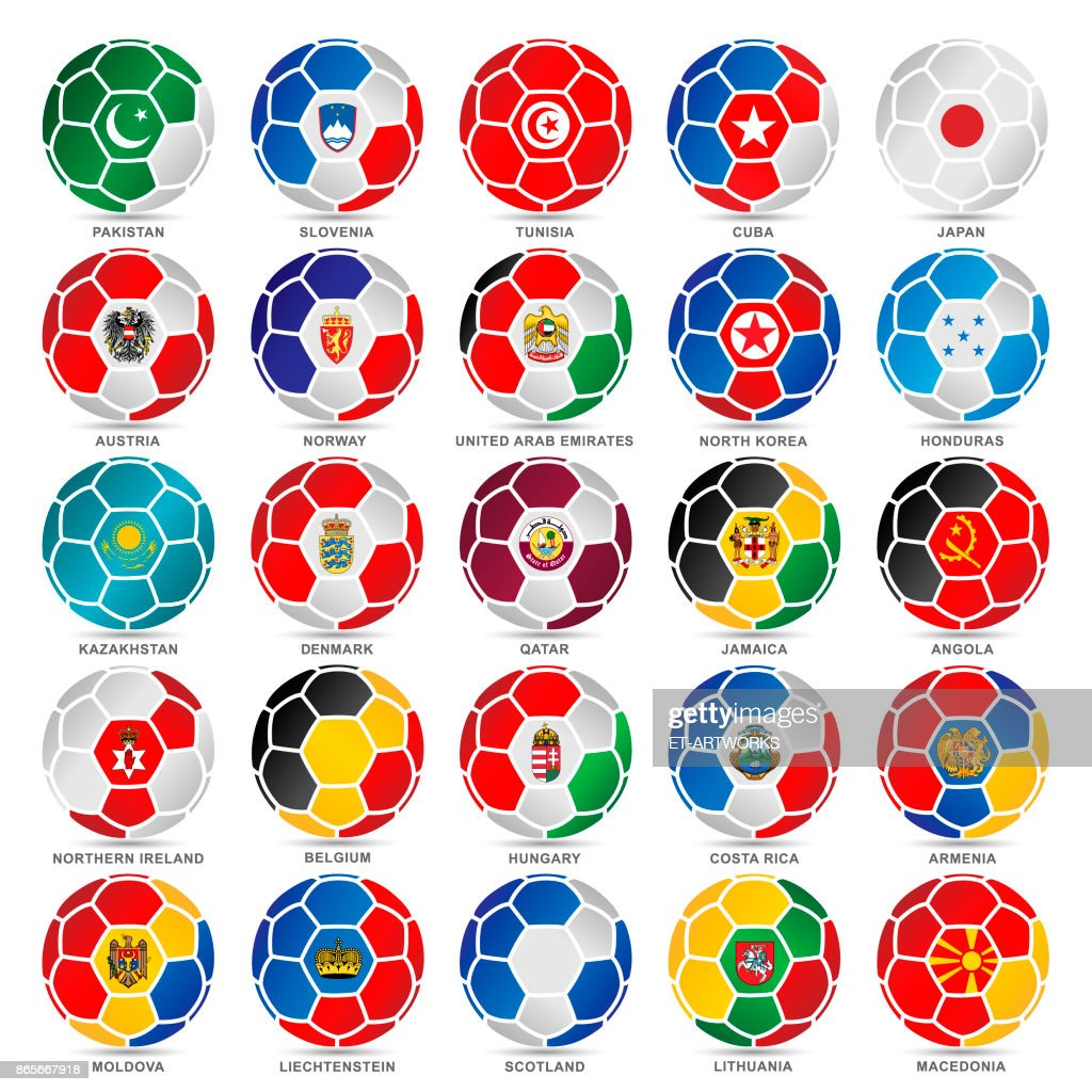 25 Flags of world on soccer balls : stock illustration