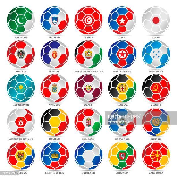 ilustrações, clipart, desenhos animados e ícones de 25 bandeiras do mundo em bolas de futebol - qatar