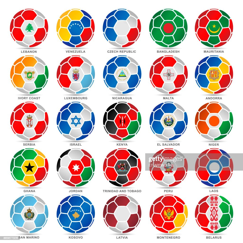25 Flags of world on soccer balls