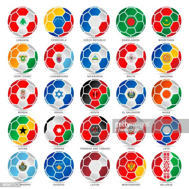 25 flags of world on soccer balls - lebanon country stock illustrations, clip art, cartoons, & icons