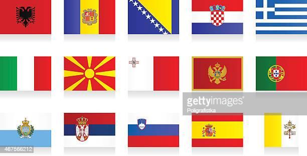 フラッグ-南ヨーロッパ - スロベニア国旗点のイラスト素材/クリップアート素材/マンガ素材/アイコン素材