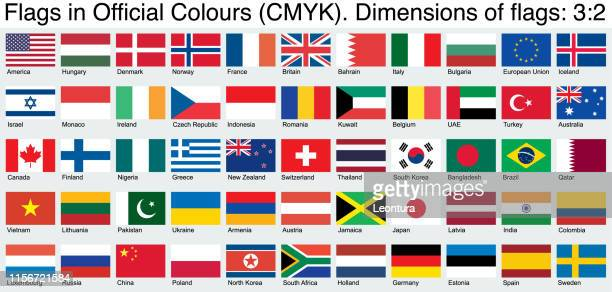 flags, using the official cmyk colors, ratio 3:2 - national flag stock illustrations