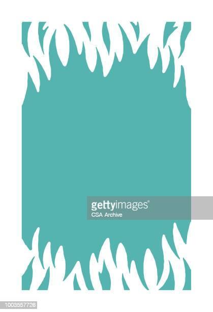 ilustraciones, imágenes clip art, dibujos animados e iconos de stock de frontera de llama - infierno fuego