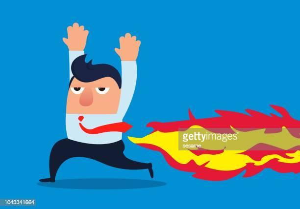 illustrazioni stock, clip art, cartoni animati e icone di tendenza di il assto dell'uomo d'affari in fiamme - emorroidi