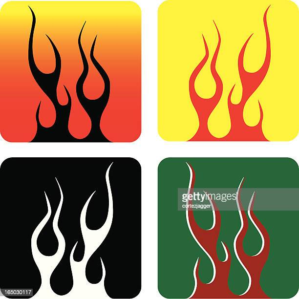 flame coasters (vector illustrations) - pinstripe stock illustrations