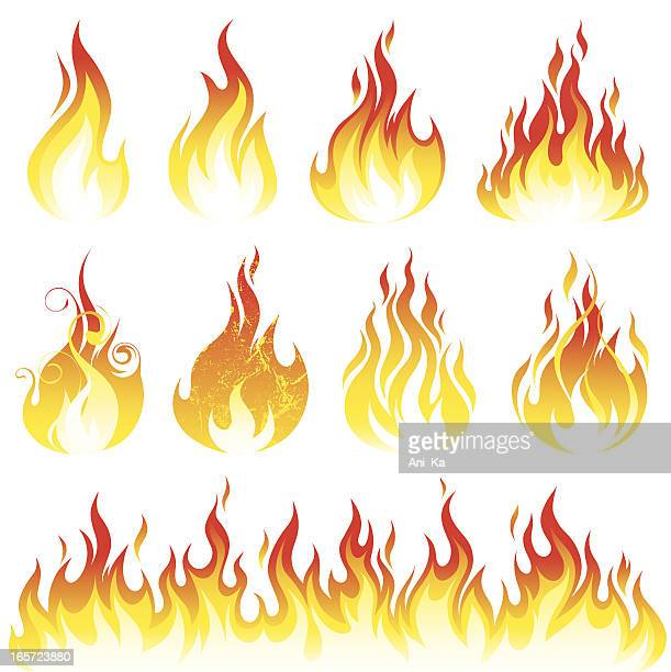 flame collection - fire natural phenomenon stock illustrations, clip art, cartoons, & icons