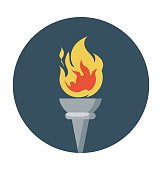 Olympics Flame Colored Vector Icon