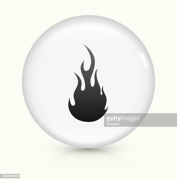Flame icon on white round vector button