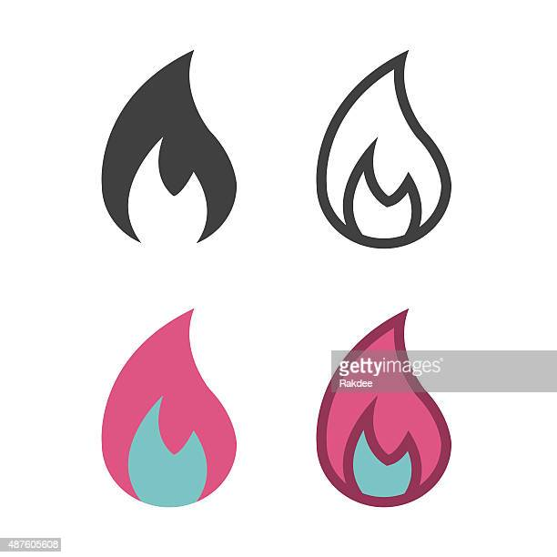 flame icon - fire natural phenomenon stock illustrations, clip art, cartoons, & icons