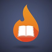 Flame icon with a book