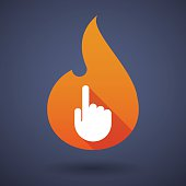 Flame icon with a hand