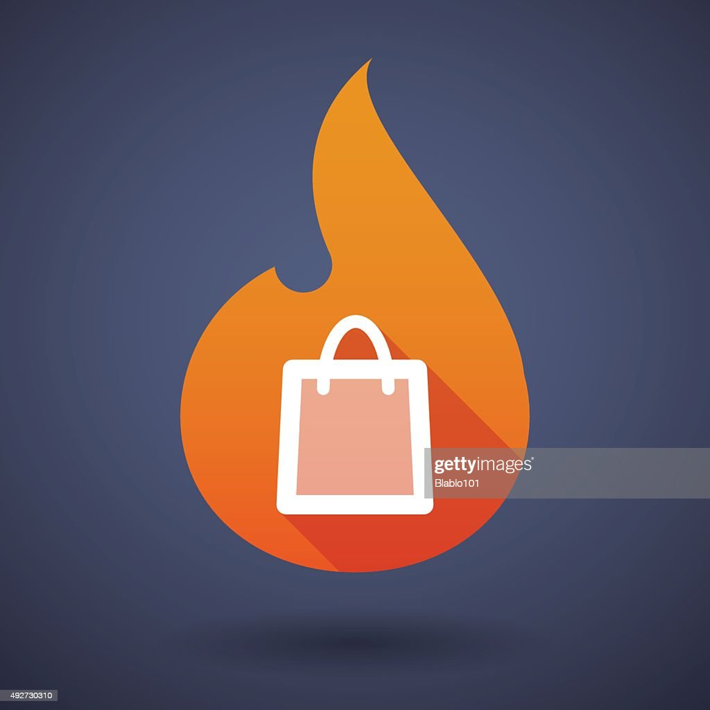 Flame icon with a shopping bag