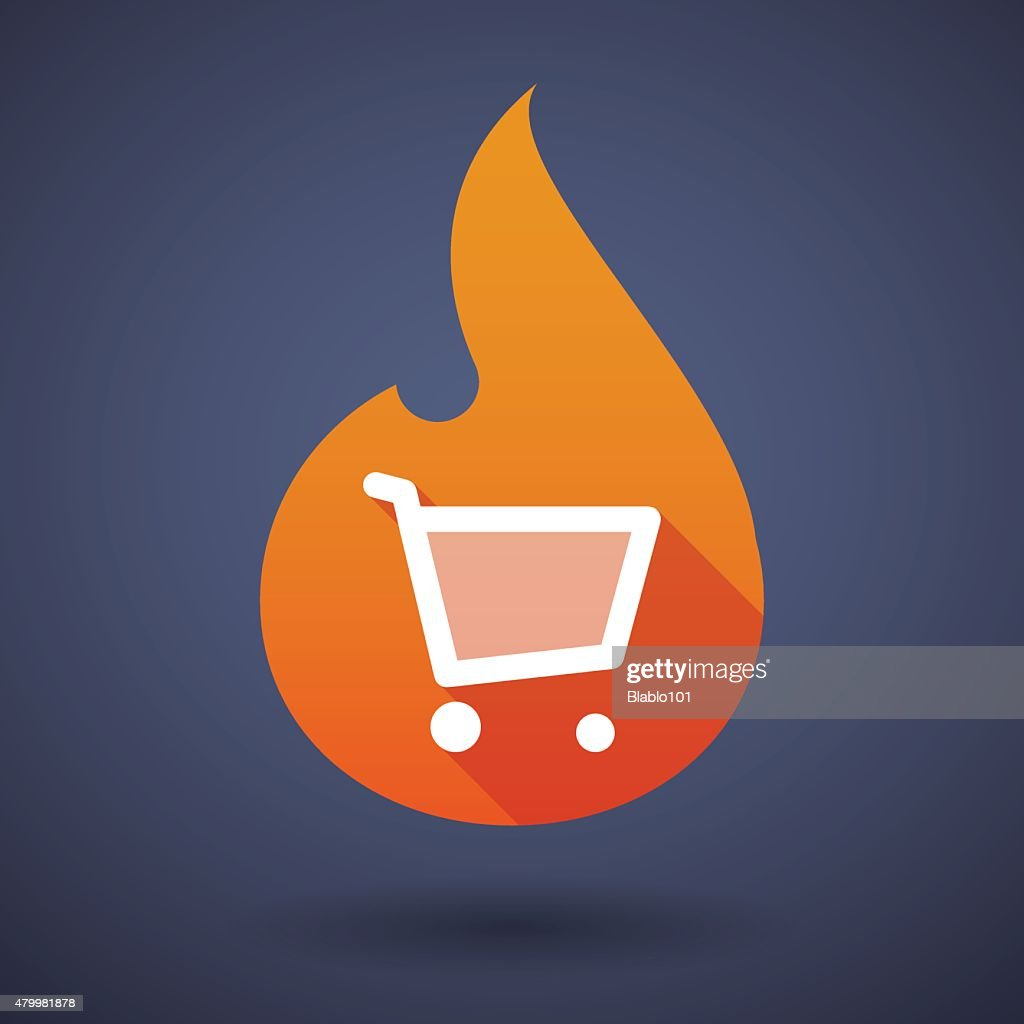 Flame icon with a shopping cart