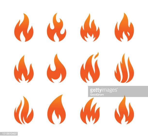 flame icons set - flame stock illustrations