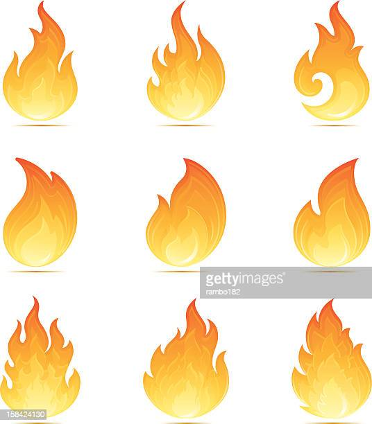 flame icons - inferno stock illustrations, clip art, cartoons, & icons