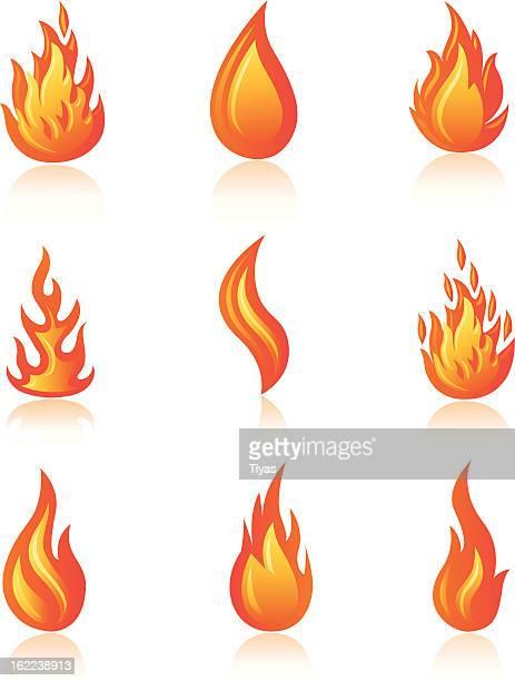 ilustrações, clipart, desenhos animados e ícones de ícones de chama - tocha olímpica tocha de fogo