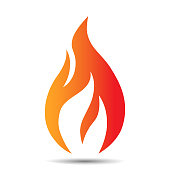 Flame logo design icon. Creative fire concept template for oil and gas company, web or mobile app. Vector illustration