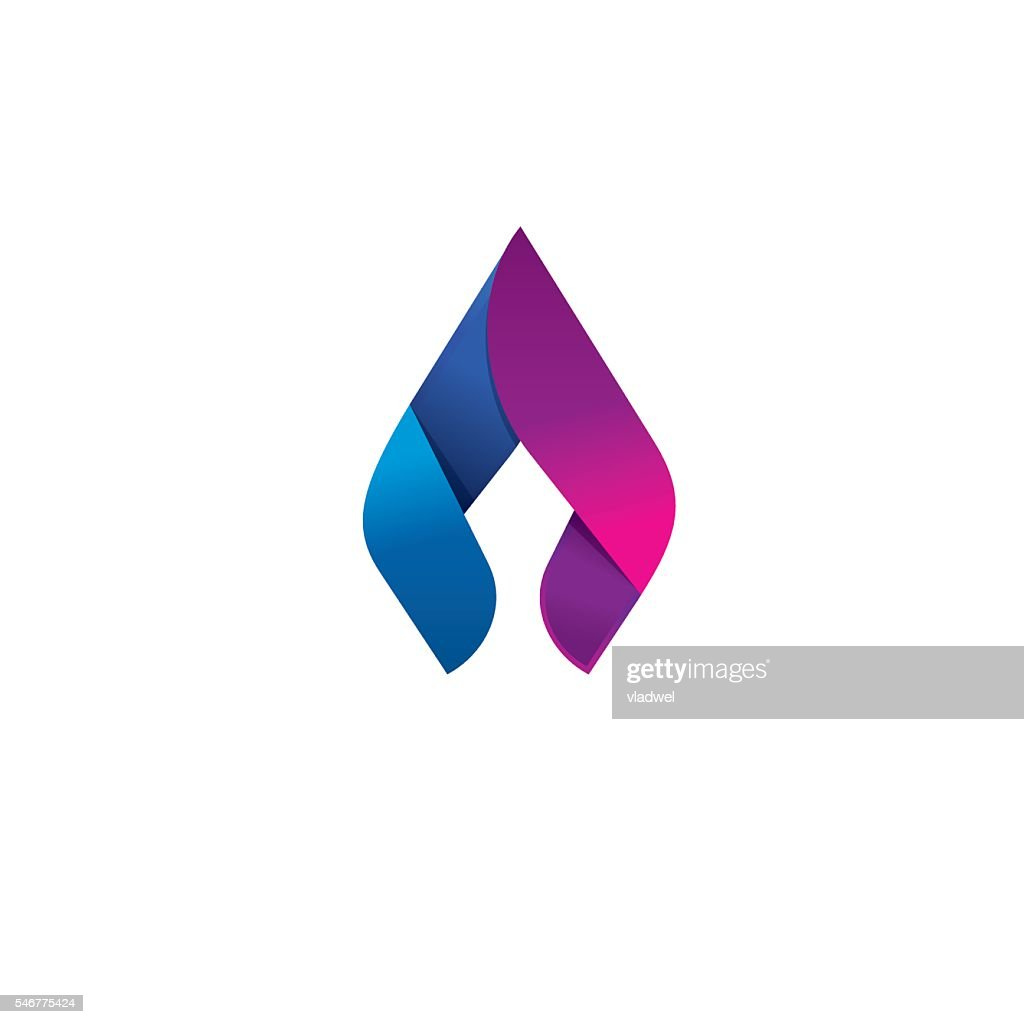 Flame vector logo design concept, beauty spear, elegant candle