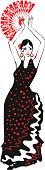 flamenco dancer in black dress with fan