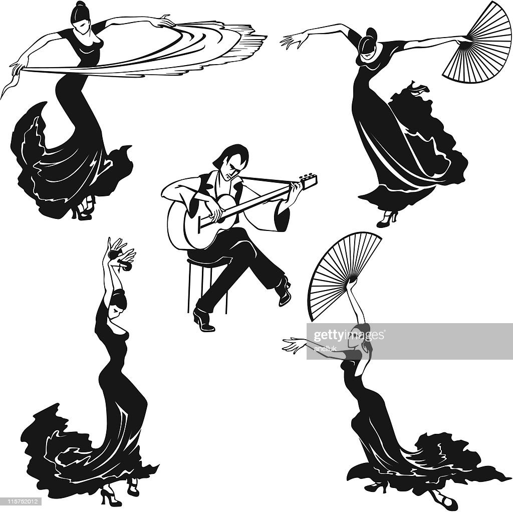 Flamenco dancers in black and white musical image