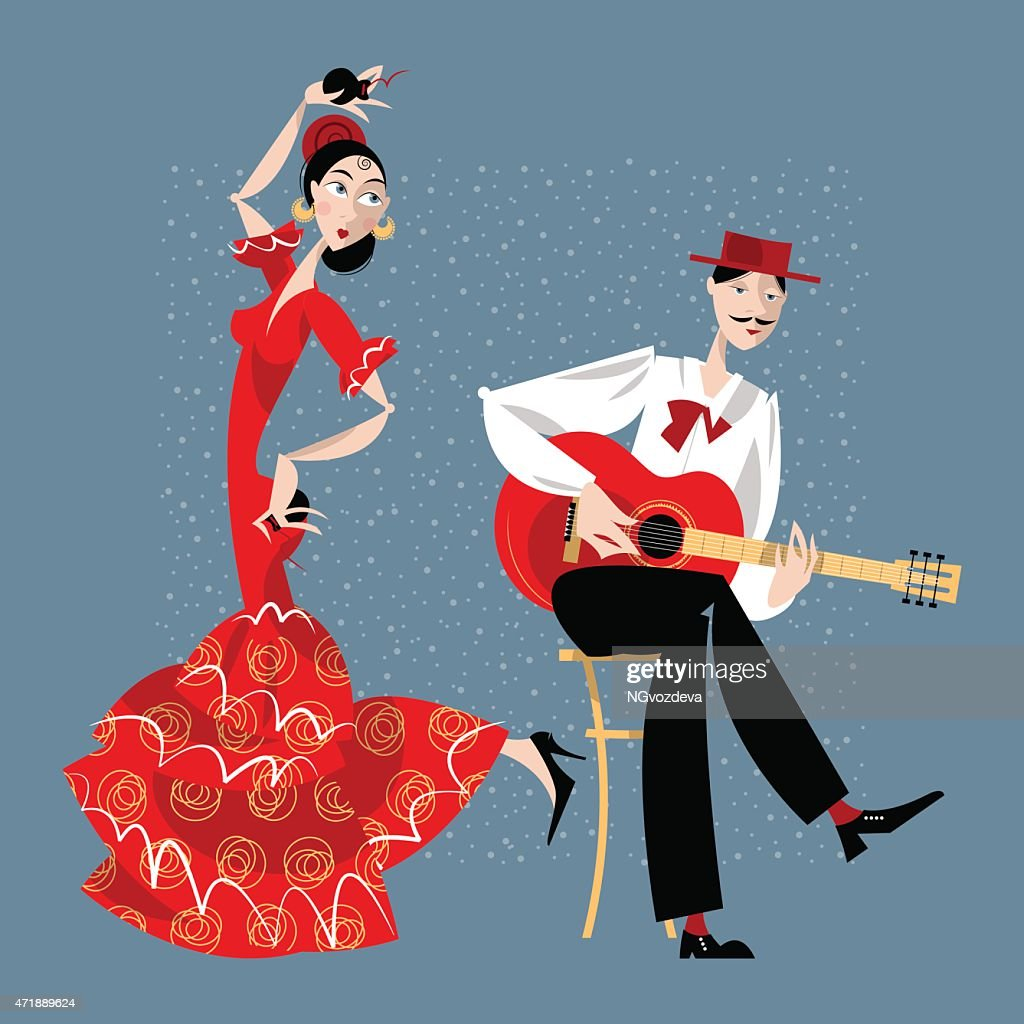 Flamenco. Dancing girl and guitarist