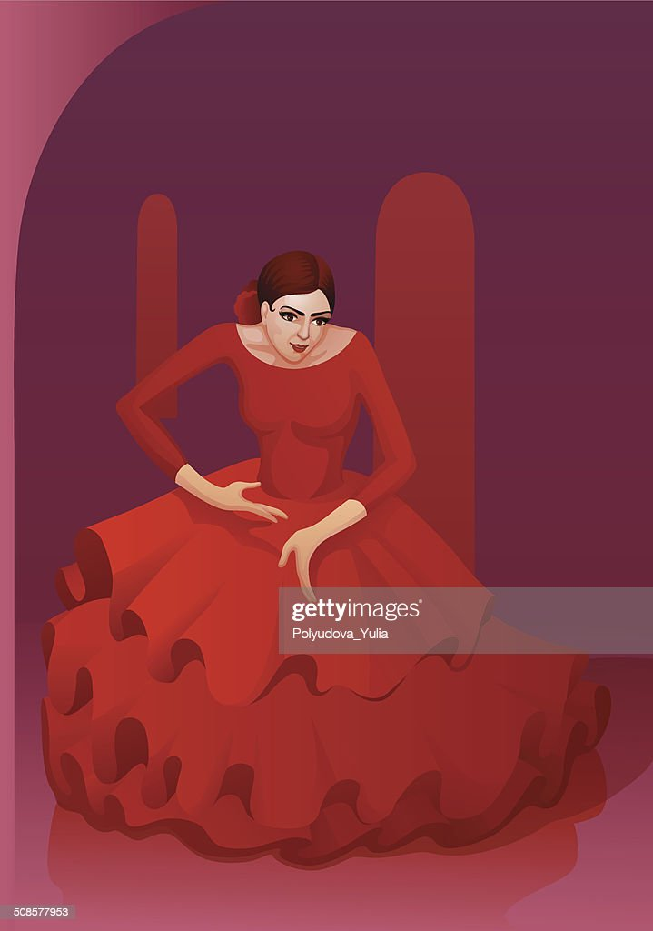 Flamenco-Tanz Mädchen : Vektorgrafik