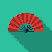 Flamenco Fan Spain Flat Design Icon