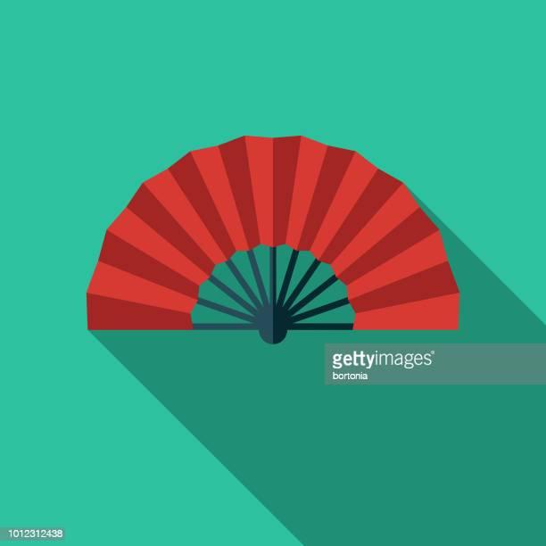 flamenco fan spain flat design icon - spanish dancer stock illustrations, clip art, cartoons, & icons