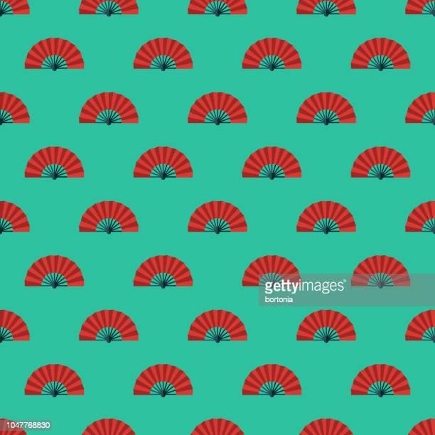 flamenco fan spanish seamless pattern - spanish culture stock illustrations