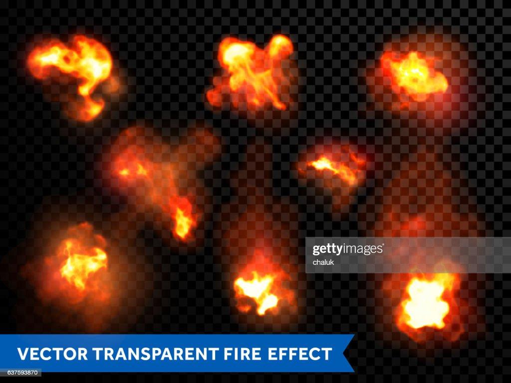 Flames fire burning explosion bursts transparent vector