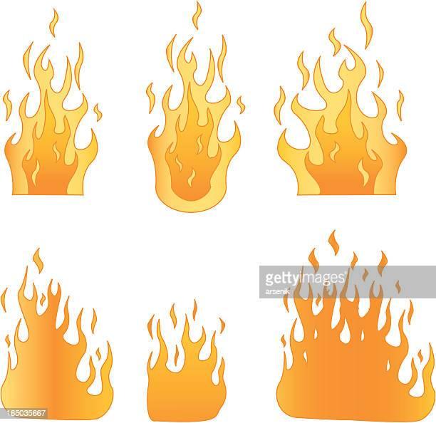 ilustraciones, imágenes clip art, dibujos animados e iconos de stock de llamas - incendio forestal