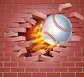 Flaming Baseball Ball Breaking Through Brick Wall