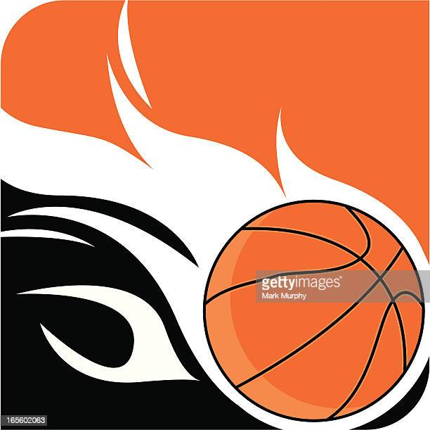 Flaming Basketball Ball Logo